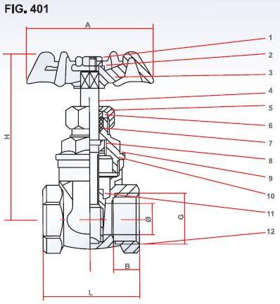 Brass Gate Valve diagram and part description